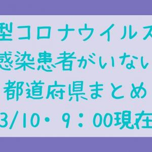 コロナウイルスの感染者がいない都道府県は?3/10・9時現在で。