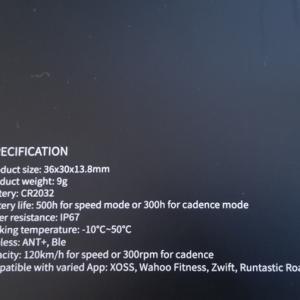 激安ANT+ BT4.0対応 XOSSスピード&ケイデンスを買ってみた。