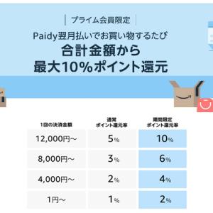 AmazonでPaidy10%還元キャンペーン!ブラックフライデー&サイバーマンデー期間中に6000P還元