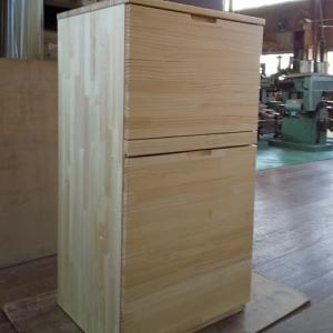 ゴミ箱に見えない ラジアータパイン集成材ペールゴミ箱収納