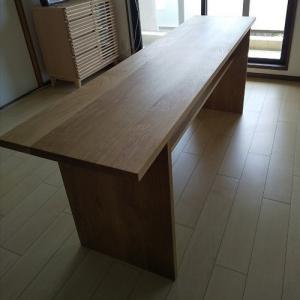 長さ2m棚付きホワイトオーク無垢板テーブル