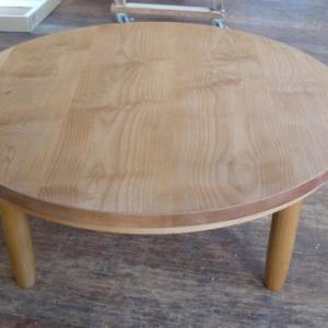 1台限定 アルダー材直径90cm丸リビングテーブル こたつテーブル