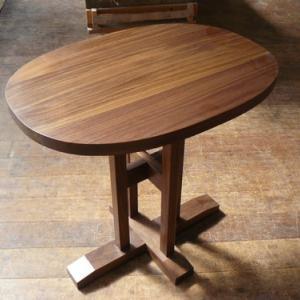 ブラックウォールナット無垢材のおしゃれなカフェテーブル スーパー楕円