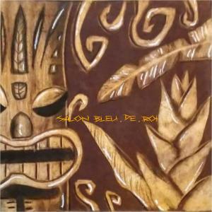 パステルアート『ティキとヘリコニア~木彫り風~』
