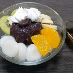 【おうちスイーツ】白玉クリームあんみつを作る!