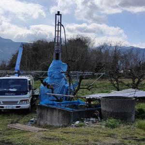 西条市丹原町でボーリング井戸掘削開始