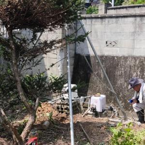 深井戸シングルジェットポンプの引抜き(松山市泊町)