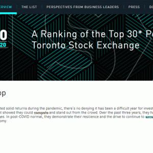カナダの株価成長企業30社を集めた「TSX30 2020」が発表されました