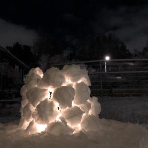 庭で雪遊び