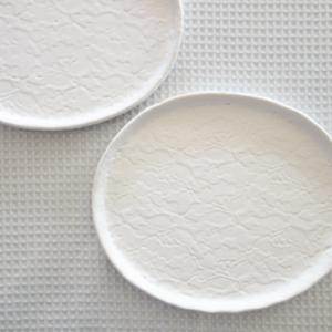 レース紋楕円皿★白土ヴァージョン