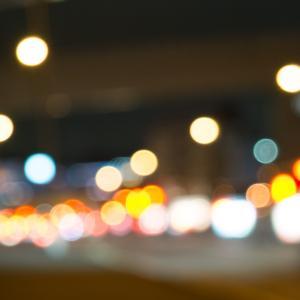 「道の玉ボケ夜景」道や車の光をボカして撮る