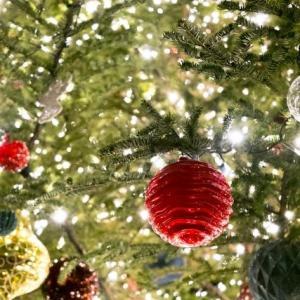 キラキラのクリスマスツリー(アップ)のフリー写真素材