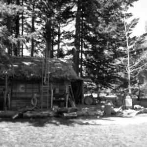 古い家と エッフェル塔 モノクロ