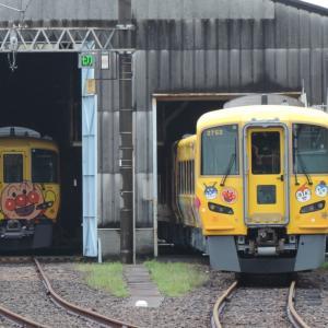 2020.7/6 とりてつ(JR四国 多度津工場)~並んだ黄色アンパンマン列車~