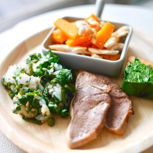 《手作り犬ごはん》菜飯、カジキのソテー、バターナッツかぼちゃとチキンのグリル、豚タンの燻製