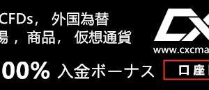 CXC Markets 100%入金ボーナス 2020/8/20-8/31まで