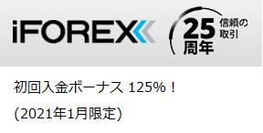iFOREX(アイフォレックス) 初回入金125%ボーナス 2021年1月末まで