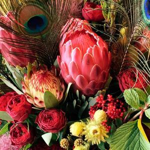 赤い花材を使ったフラワーアレンジメントの個人レッスン