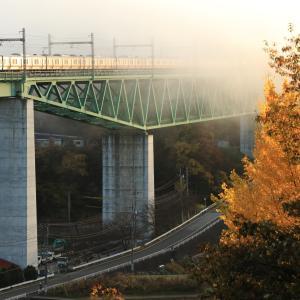 E233系、新桂川橋梁にて