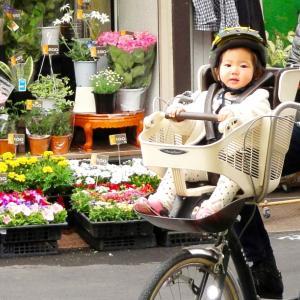 子ども乗せ自転車って最高♡  子どももママも自転車にのるのが大好き!