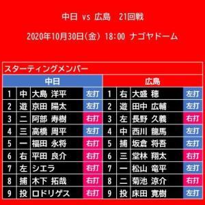 【スタメン】2020年10月30日(金)◆vs 中日 (ナゴヤドーム)