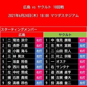 【スタメン】2021年6月24日(木)◆vs ヤクルト 10回戦 (マツダスタジアム)