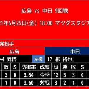 【予告先発】2021年6月25日(金)◆vs 中日 9回戦 (マツダスタジアム)