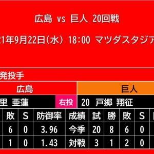 【予告先発】2021年9月22日(水)◆vs 巨人 20回戦 (マツダスタジアム)