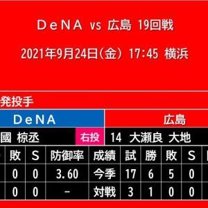 【予告先発】2021年9月24日(金)◆vs DeNA 19回戦 (横浜)