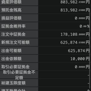 FX購入範囲を変更、好調で5000円出金。