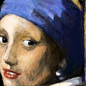 フェルメールの「真珠の耳飾りの少女」を描いてみた!