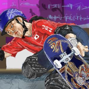 東京オリンピック スケートボード女子パーク 金メダル「四十住 さくら」選手を描いてみた!
