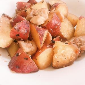【ズボラ飯】フライパンで簡単調理『さつまいもと鶏ムネ肉の煮込み』