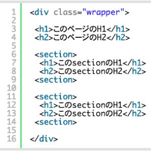 【SEO対策】[section]等にそれぞれ [h1]等のhタグを入れて使う仕様について