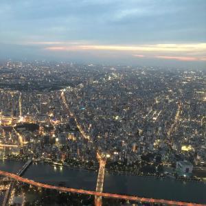 東京スカイツリー 天望回廊からの夜景は綺麗でした。
