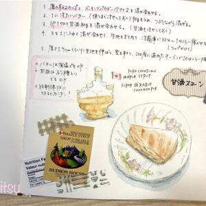 レシピとスイーツを画用紙絵本ノートに『暮らしの時短スケッチ』で練習