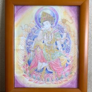 大人の塗り絵「美しい仏画編」如意輪観音菩薩は水彩絵の具と色鉛筆で