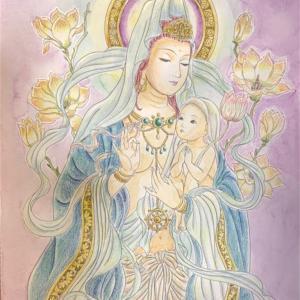 美しい仏画編より【慈母観音さまの塗り絵】子どもたちを見守る気持ち