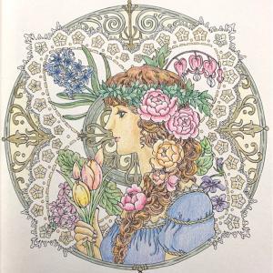 お気に入りの塗り絵【マンダラコロリアージュ】より春の女神の完成