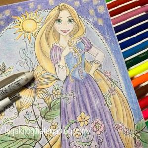 クーピーと色鉛筆でラプンツェルを塗ってみた!100均アートぬりえ
