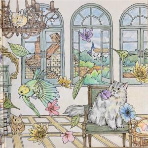 本棚のある部屋の見開きページが完成【森が奏でるラプソディー】塗り絵