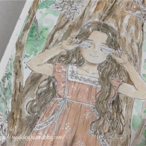 エポルの森の少女【葉っぱのサングラス】を水彩絵の具で塗り始めた