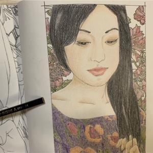 美人画ぬりえより「手櫛・樹子」ふっくらお顔が誰かに似ているような…
