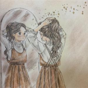 エポルの森の少女「髪を結ぶ時」の塗り絵を光が入る部屋をイメージしてみた