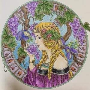 秋の女神の塗り絵は紫を多めに塗ってみた「マンダラコロリアージュ」