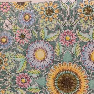 ひまわりとお花のコロリアージュ「ひみつの花園」配色に迷った塗り絵
