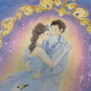 白鳥の湖の王子様とお姫様の塗り絵「自律神経を整えるなぞり絵」より