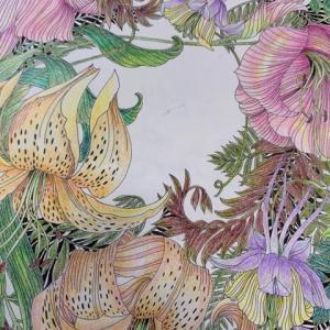 【オダマキとユリの塗り絵】葉っぱの色に悩んだらジャングルみたいに