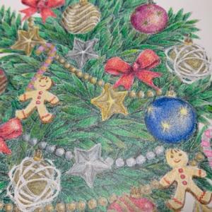 【クリスマスツリーの塗り絵】葉っぱを1本1本塗るのが大変!