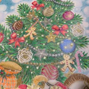 【クリスマスツリーの塗り絵】背景を雪の風景のイメージで描いてみた